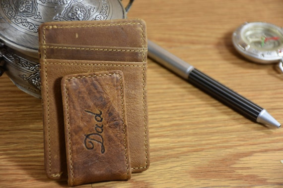 Christmas Gifts Personalized Clip Wallet Leather Money Clip Wallet Magnetic Money Clip Credit Card Handmade Mens Wallet
