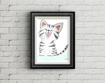 Signed **HAPPY KITTEN** Printable Wall Art, Instant Download, Printable Signed Watercolor