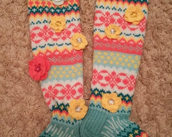 Children over knee hand knitted socks