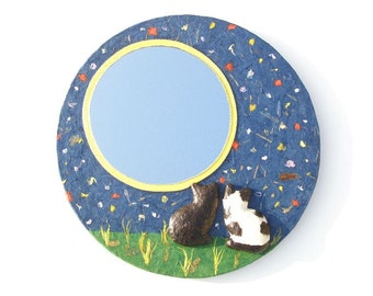 MOON CATS MIRROR,Black and White Cats in Love,Decorative wall mirror yellow full moon round mirror with stars and two cats in love,cat lover