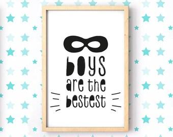 Boys are the Bestest Framed Print, Boys Print, Superhero Mask or Crown Print, Kids Print, Christening Gift, Superhero Print, Boys v Girls