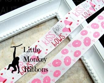 I kiss for Bows, Grosgrain ribbon, Valentines ribbon, 7/8 inch ribbon, Lips, USDR