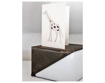 Animal / Giraffe Cards 4 + Envelopes. Beautifully Hand Printed. Thank You Cards, Party Invites, Children's Blank Cards. Made in England.