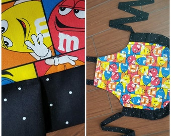 3 or 4 year old mini child apron. Girl's apron. M & M colorful  print with black frills.