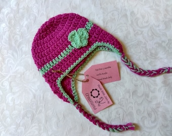 Pink and green handmade crocheted baby earflap hat