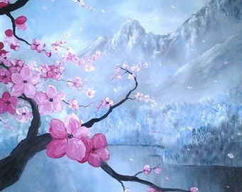 Japanese Sakura Beautiful Abstract Art Original Oil Painting Spring Landscape *Pink Cherry Blossom*