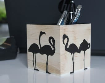 """Black flamingo"" pencil holder - My Little Painted Boxes"
