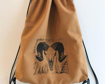 Hand block printed designer cotton drawstring backpack; ram skull drawstring backpack