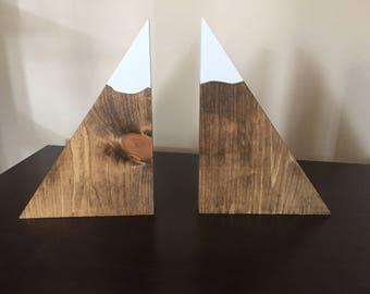 Large Set of Mountain Bookends / Wood Mountain Bookends / Wood Bookends / Mountain Decor / Snow Peak Bookends / Mountain Peak Bookends