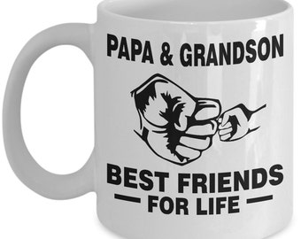 Papa and Grandson Best Friends For Life Mug - Father's Day Gift, Grandpa, Husband From Grandson, Daughter, Ceramic Mug 11 Oz