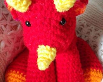 Red, yellow, orange three horn Triceratops Dinosaur plushy child toy