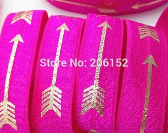 Neon Pink with Gold Foil Arrows Geometric Design FOE Fold Over Elastic 5/8th Inch 16mm - per Yard