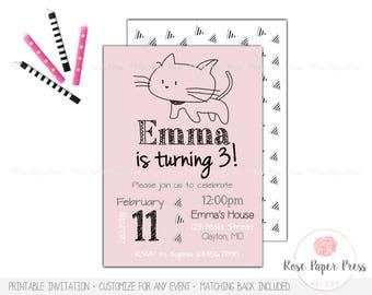 Cat Birthday Invitation, Kitten Birthday Party | Custom Printable Invitation | Modern Invitation | Kitty Birthday | Cat Invitation
