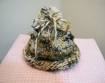 knit/crochet baby hat with pom pom multi cream and tan/knit
