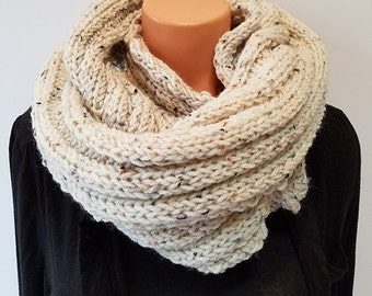 Sand Hand Knit Infinity Scarf