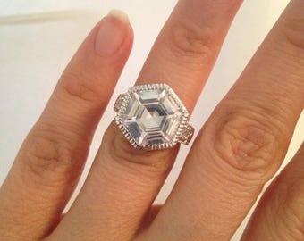 Large Octagon Shaped Ring, 925 Sterling Silver Rhodium Hand Setting Ring