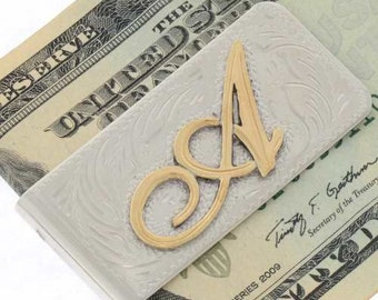 Custom Initial Money Clip Gold Silver Script A To G
