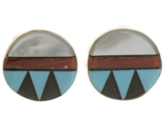 Inlaid Turquoise Lapis Zuni Earrings Sterling Posts