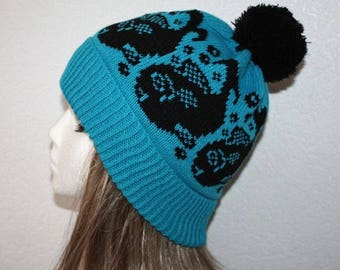 Blue Beanie Hat with Black Whales - with or without Pompom option