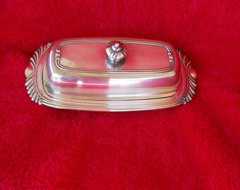 Silverplated Butter Dish with glass insert, tarnished & pitted somewhat, but nice