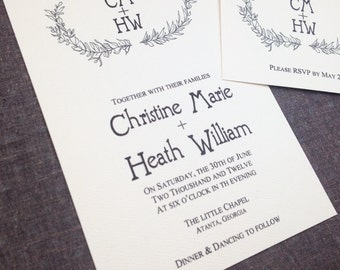 Hand Drawn Laurel Rustic Wedding Invitation 2 piece suite, deposit listing