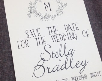 Hand Drawn Laurel Rustic Save the Date, deposit listing