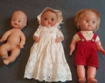 3 Darling Vintage Baby Dolls 1960s 1970s