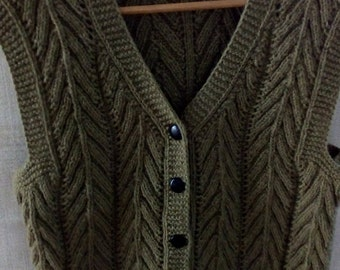 Womens vest, green color, knitted, 100% pure wool, knitting, waistcoat, made with merino sheep's wool