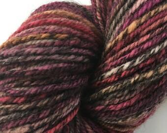 Handspun Polworth /  Black Alpaca  3 ply yarn   listing #1