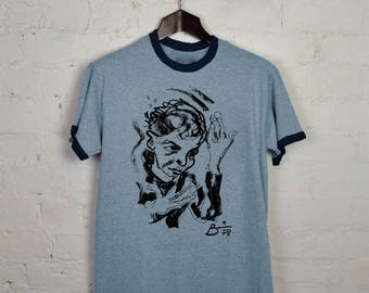 DAVID BOWIE - 1978 Heroes 'Self Portrait' Vintage Reprint, Sky Blue Ringer T-shirt