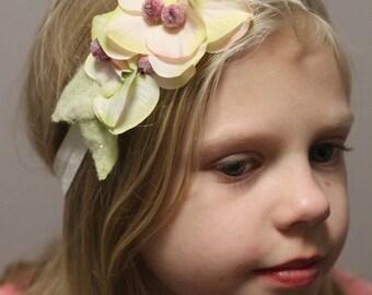 Elastic Floral headband, Little Girls headband,