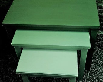 Shabby Chic/Retro/Vintage nest of three tables in shades of green and white