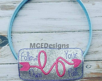 Follow Your Own Path Machine Embroidery Design, for Headbands, Book Marks, Planner Bands, Instant Downloads, 4x4 5x7 6x10