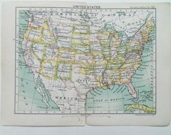 United States Antique Miniature Barthlomews  map  dated 1895 16cm x 12cm
