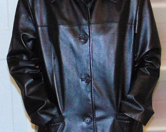 Excelled Collection Black Leather Jacket Great Condition sz L