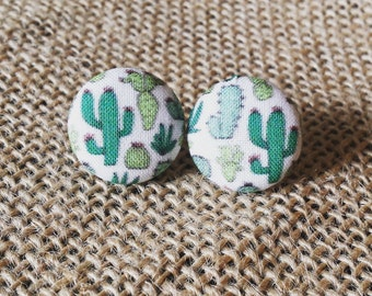 Cactus Earring/Cacti Earring/Succulent Earring/Cactus Studs/Cactus Fabric Cover Button Earring/Cactus Fabric/Cactus Gift/Cactus Jewelry