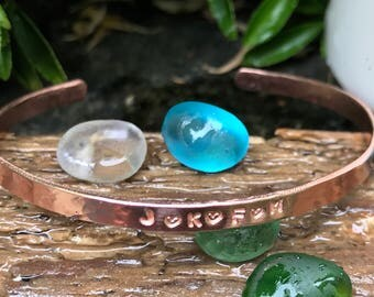 Personalised Hand Stamped Copper Cuff, Hammered Cuff Bangle, Copper Bracelet. Customised Copper Jewellery