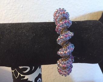 Handmade purple seed bead spiral bracelet