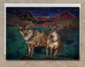 WOLF LOVE Greeting Card, Wolf Greeting Card, Wolf Blank Card, Wolves Card, Wolf Couple, Wolf Love Card, Whimsical Art Card, Illustrated