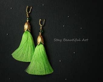 Green Tassel Earrings Gold Plated CZ Earwires Long Earrings Tassels Jewelry