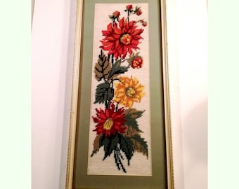 Vintage Framed Floral Needlepoint Crewel Embroidery of Dahlia Flowers