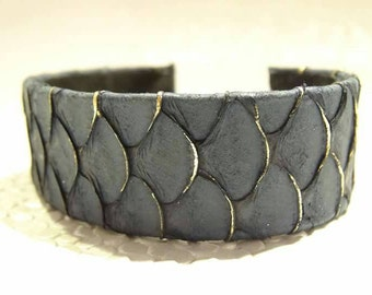 Leather strap of fish, slate scales Mermaid, urban primitive jewelry, Eco friendly, Edgy, Glam rock, Boho chic, adjustable