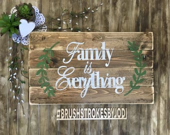 Family is Everything, rustic wood sign, family sign, handpainted wood sign, wooden signs, wood sign,  handpainted decor, home decor, rustic