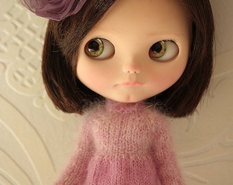 FREE SHIPPING - Dress for Blythe doll - Mohair dress. Mohair sweater for Blythe doll, Pink mohair sweater