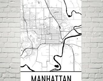 Manhattan Map, Manhattan KS Art, Manhattan Print, Manhattan KS Poster, Manhattan Wall Art, Manhattan Gift, Map of Manhattan Kansas, Decor