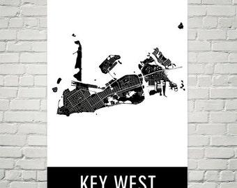 Key West Map, Key West Art, Key West Print, Key West FL Poster, Key West Wall Art, Key West Gift, Map of Key West, Key West Decor, Map Art