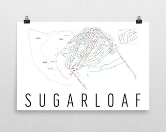 Sugarloaf Ski Map Art, Sugarloaf Maine, Sugarloaf Trail Map, Sugarloaf Ski Resort Print, Maine Art, Maine Gifts, Maine Map, Ski Print