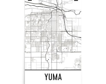 Yuma Map, Yuma Art, Yuma Print, Yuma AZ Poster, Yuma Wall Art, Map of Yuma Arizona, Yuma Gift, Yuma Map Print, Yuma Decor, Yuma Art Print
