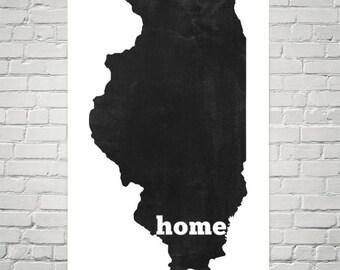 Illinois Home, Map of Illinois, Illinois Print, Illinois Map, Illinois Wall Art, Illinois Art, Illinois Gifts, Illinois Decor, Poster