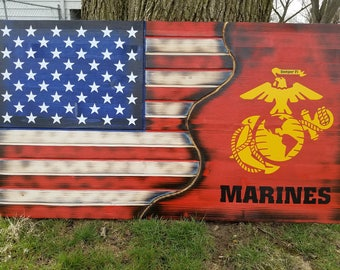 American Flag, USMC, Military, Rustic, Distressed, Charred, Wood flag, Marine Corps, Man Cave